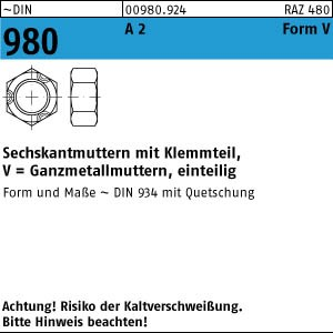 DIN 986 Sechskant-Hutmuttern selbstsichernd Edelstahl A2 diverse Abmessungen