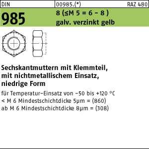 Stahl Klasse 8 galv 10x DIN 982 Sechskantmuttern mit Klemmteil M 20 verzinkt