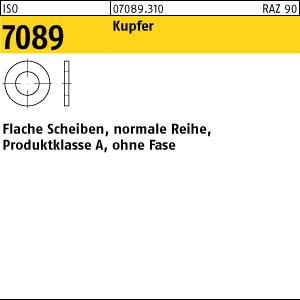 Flache Scheiben ISO 7089 Messing blank normale Reihe ohne Fase Produktklasse A