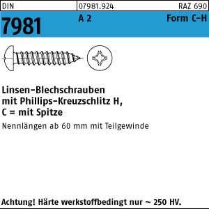 Linsen-Blechschraube DIN 7981 Edelstahl A2 Form C-H 2,2 x 6,5-100 St/ück
